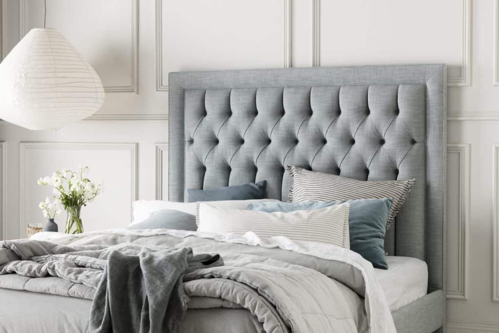 linen bedhead, Tilbury bedhead, headboard